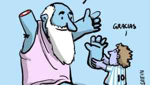 To σκίτσο που ραγίζει καρδιές:  Ο Μαραντόνα επιστρέφει ...το χέρι του Θεού!